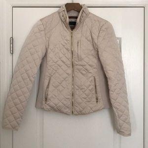 Zara - Quilted Moto Jacket Cream / Off-White M